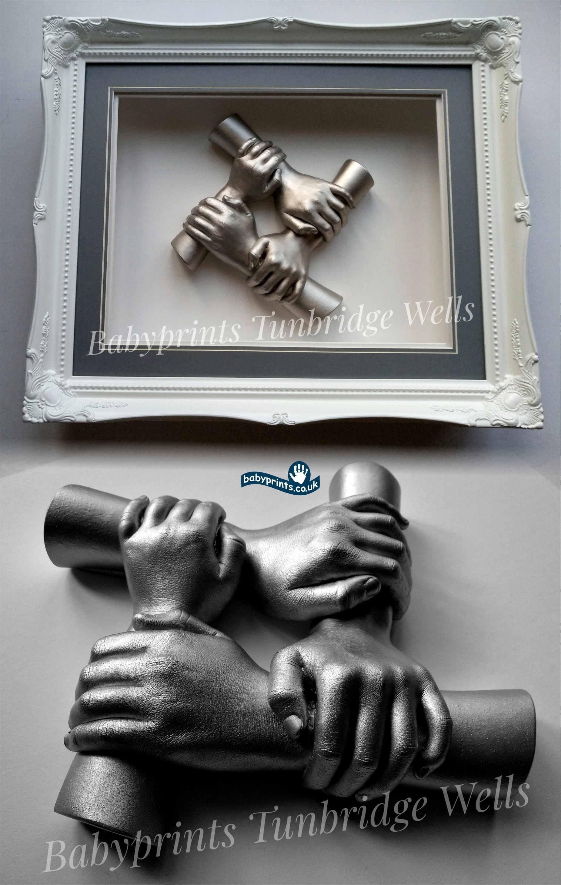 Stunning clasping hand casting