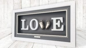 Babyprints Buckinghamshire baby feet love frame in white and charcoal colour combination