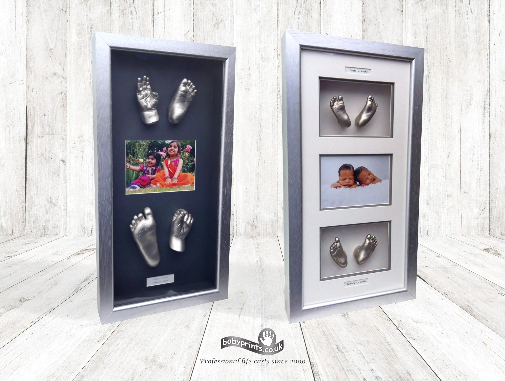 Sibling castings with photo in portrait frame