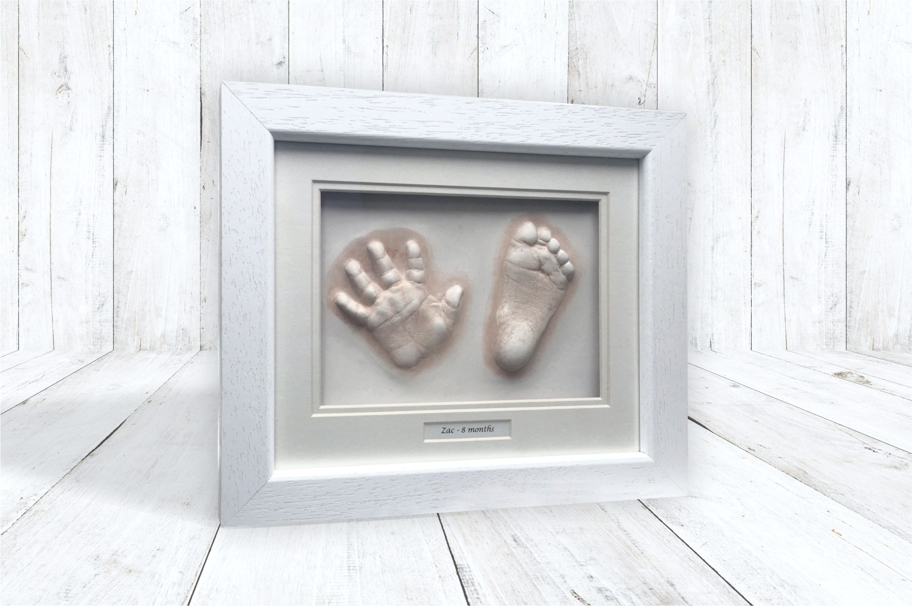 hand and foot Impression in white classic wood frame